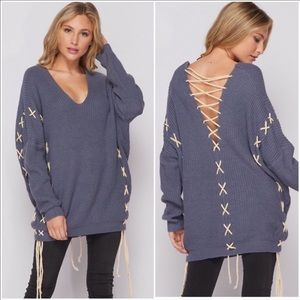 Dusty Navy Lace Up Oversized Sweater
